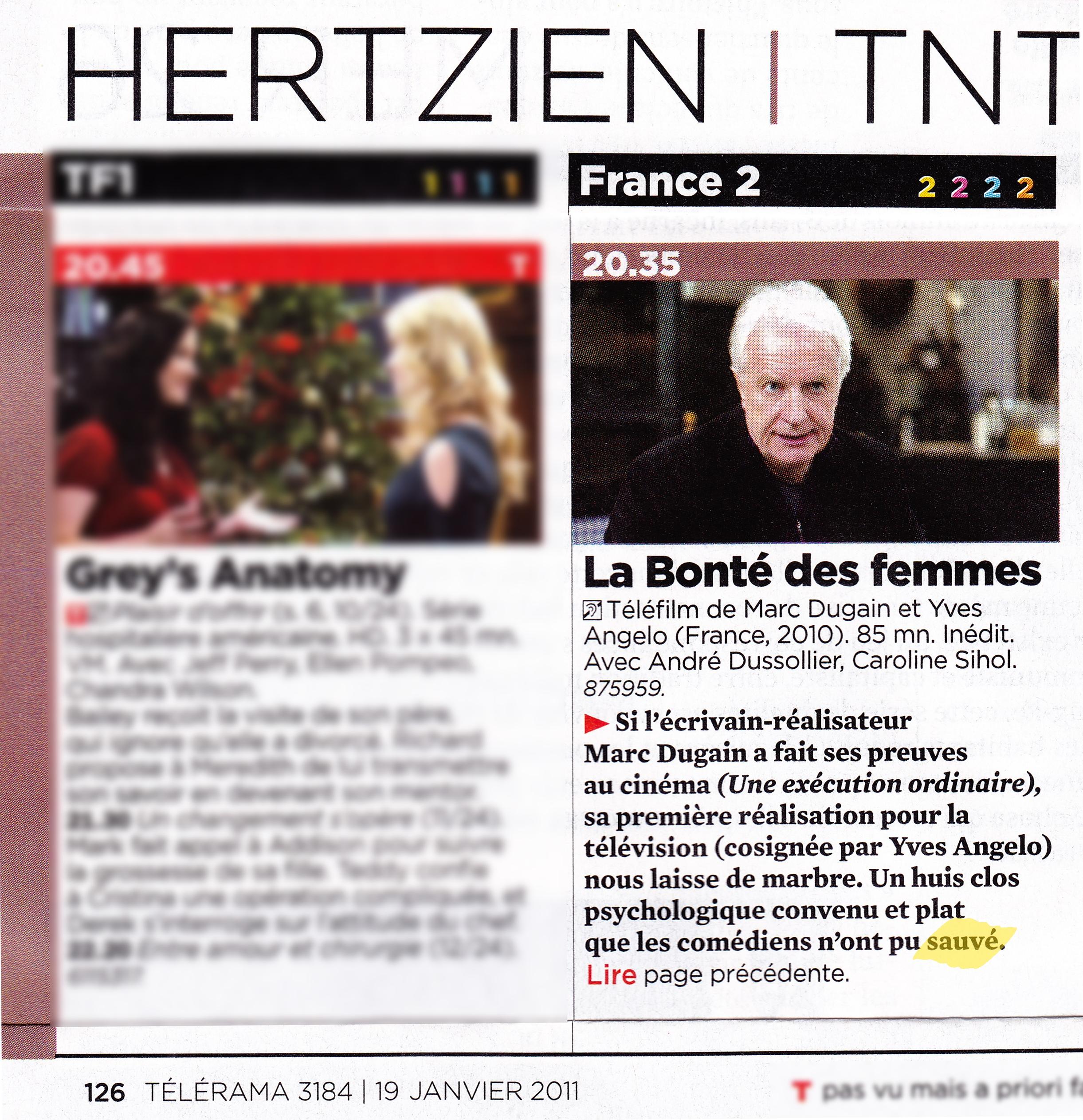 Article Télérama n°3184 (22-28.01.11)