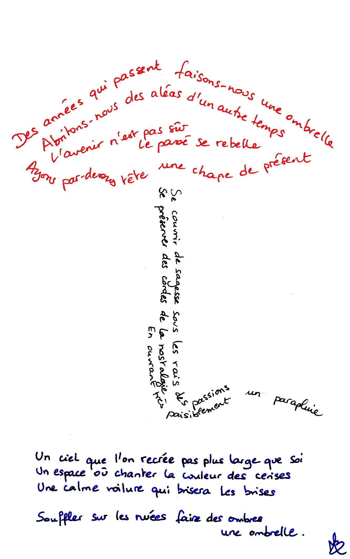Calligramme Ombrelle